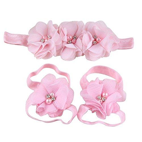 Sanwood bébé fille en mousseline Strass Pied Fleur Barefoot Sandales Bandeau Set rose rose taille unique