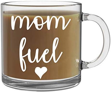 Mom Fuel 13oz Clear Glass Coffee Mug Funny Coffee Mom Mug Coffee Mug For New Mom World s Best product image