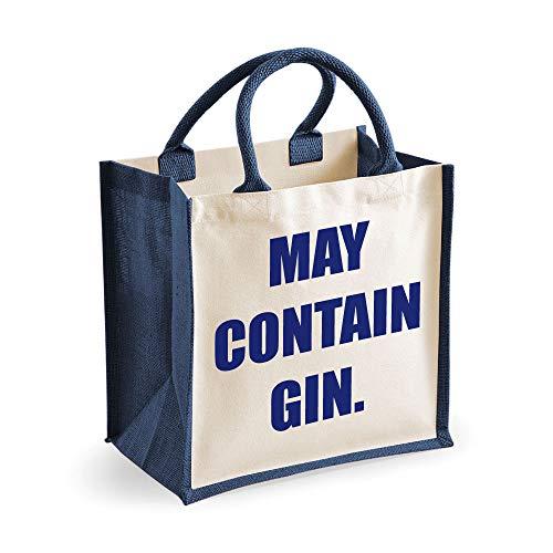 """Jutetasche mit Aufschrift """"May Contain Gin"""" von 60Second Makeover Limited, Größe M, marineblau"""