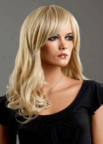 BESTUNG Pelucas rubias de platino onduladas largas y rizadas de 18 pulgadas para mujeres Pelucas sintéticas de alta calidad con flequillo