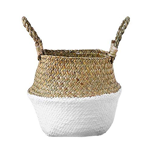 Mallalah Cesta de Almacenamiento Cesta de Mimbre de Flor Cesta de Lavandería Plegable Trenzada Suciedad en Mango de Pasto Marino 3 Tamaños para Elegir (blanco, S)