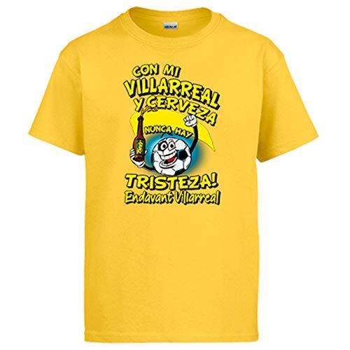 Camiseta Frase con mi Villarreal y Cerveza Nunca Hay Tristeza para Aficionado al fútbol - Amarillo, 9-11 años
