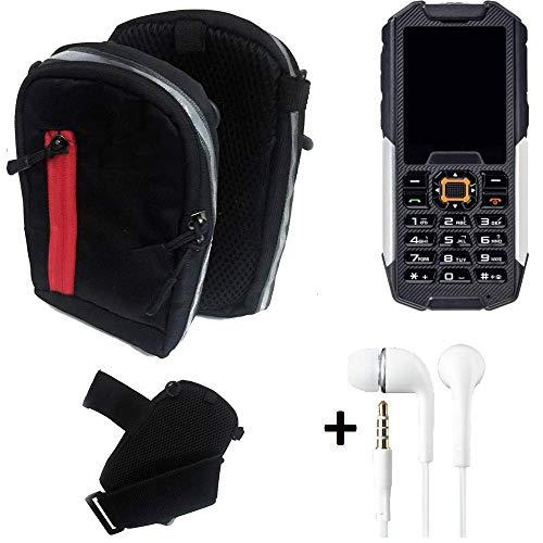 K-S-Trade® Outdoor Gürteltasche Umhängetasche + Kopfhörer Für -Cyrus cm 7- Schwarz Handytasche Case Travelbag Schutzhülle Handyhülle
