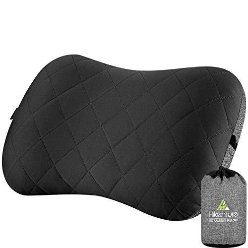 HIKENTURE Aufblasbares Camping/Reise Kissen mit Abziehbarem Kissenbezug, Ergonomisches Kopfkissen, Komfortables Nackenkissen für Reise/Outdoor, Inflatable Travel Neck Pillow(Schwarz)