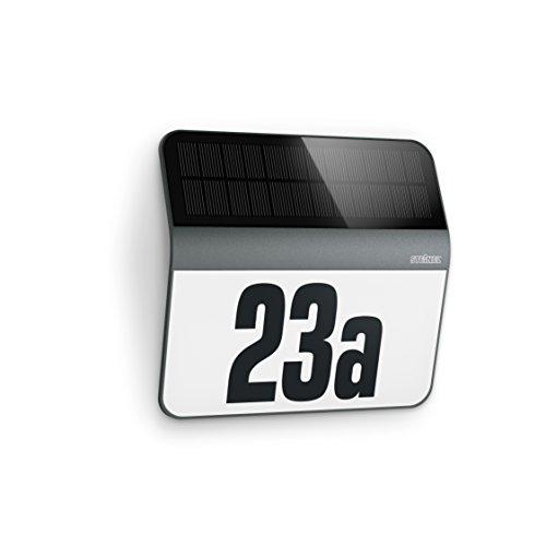 Steinel LED Solar Leuchte XSolar LH-N anthrazit, Dämmerungsschalter, 1100 mAh LiFe-Akku, inkl. beleuchtete Hausnummer