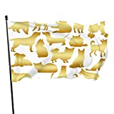 Bandera de jardín con silueta de gato dorado, bandera de interior y exterior de 3 x 5 pies, banderas de playa duraderas y resistentes a la decoloración con encabezado, fácil de usar