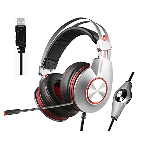 Best Gaming Headphones with Microphone USB 7.1 Sound/3.5mm Heavy Bass Game Headset for PC Gamer PS4 Xbox one Phone, USB Silver Plug
