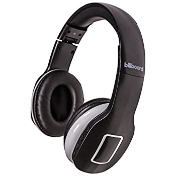 Billboard Bluetooth Wireless Folding Headphones With Enhanced Bass Controls and Microphone - Black