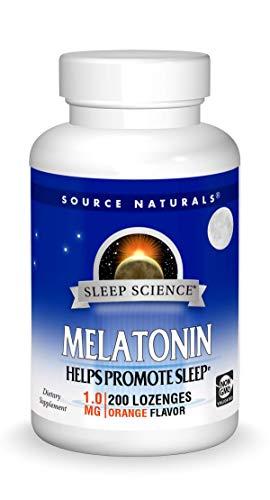 Source Naturals Sleep Science Melatonin 1 mg Orange Flavor - Helps Promote Sleep - 200 Lozenge Tablets