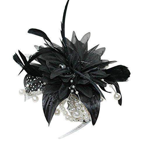 The Good Life Magnifique Fleur et Plumes Corsage de Poignet Noir pour Les Mariages Races et Tous Vos événements spéciaux