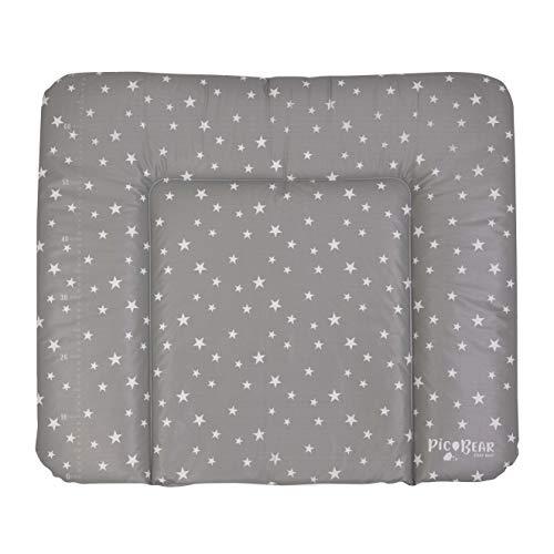 Wickelauflage HONEY | weiche Wickelunterlage | Öko-Tex 100 | abwaschbar und pflegeleicht (72 x 85 cm, Sterne grau-weiß)