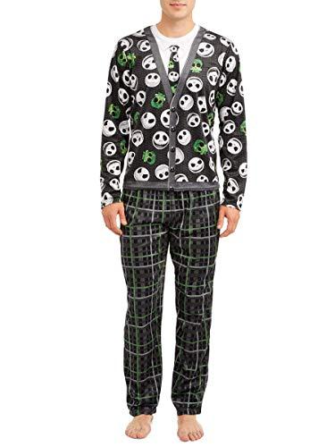Disney Uomo nightmare before christmas cardigan pajama set, xx-large nero