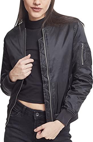 Urban Classics Ladies Basic Bomber Jacket Chaqueta, Negro-Negro (Negro 7), 36 (tamaño del Fabricante: S) para Mujer
