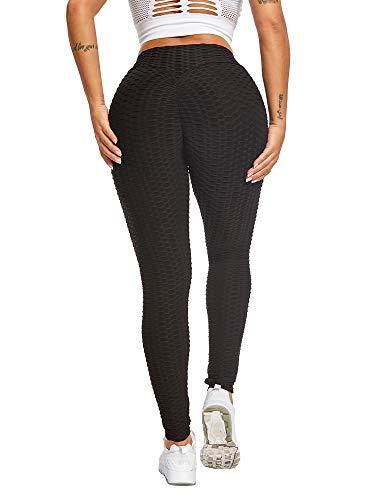 Sexy Dance Damen Leggings mit Wabenstruktur, Anti-Cellulite-Lift, hohe Taille, Yogahose, Scrunch/gerüschter Po, Laufhose für Fitness und Fitnessstudio Gr. M, Schwarz