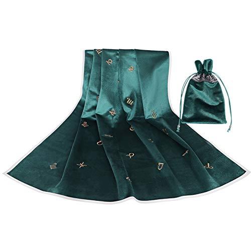 Tisi bestickte Tarot-Tischdecke mit Sternbild-Muster – einfarbige Tarot-Tasche Wicca Altar Wahrsagung Brettspiel Samt Vintage Karte Pad (grün)