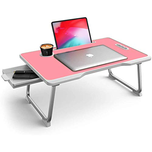 Mesa de cama para ordenador portátil, plegable, plegable, para regazo con cajón, soporte para tazas, soporte para tableta, asa para comer, estudiar en la cama/sofá/sofá/piso, color rosa