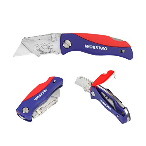 WORKPRO Folding Utility Knife Quick-Change Box Cutter, Blade Storage in Handle with 5 Blades and 10 Extra Included in Small Box