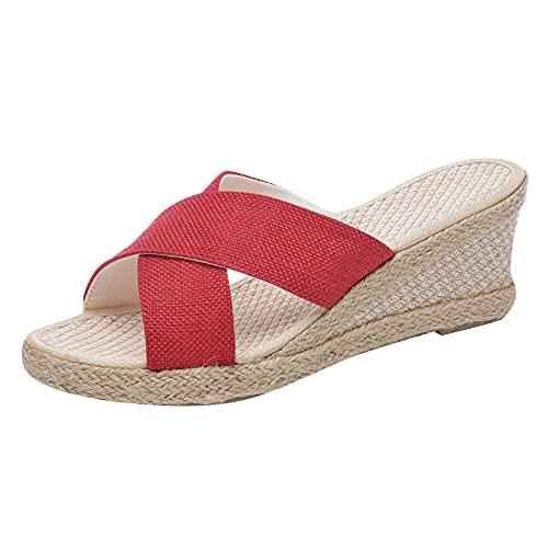 Zapatillas de mujer Cuñas Cómodo tejido de cuerda de cáñamo Zapatos casuales de punta abiertaZapatillas huecas transpirables zapatos de agujero plano