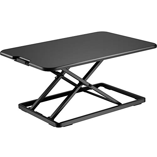 BONTEC Sit- Stand Desk Converter, Height Adjustable Super Sturdy Office Workstation with 65x47cm Platform, Ergonomic X-Frame Riser for PC Computer Screen, Keyboard, Laptop up to 8kg