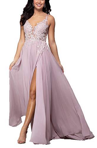 Meales Damen V-Ausschnitt Abendkleider Ballkleid Elegant für Hochzeit Spitze Festzug Kleider Partykleider(Mauve,40)