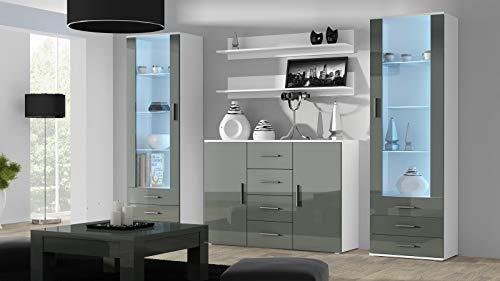 Wohnwand SOHO 3 mit Blauer LED Beleuchtung, Anbauwand, Wohnzimmerschrank, Schrankwand, Vitrine, Sideboard, Hängeregal (Weiß/Grau Hochglanz)