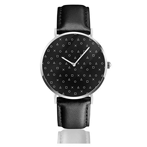 Klassische Armbanduhr, schwarzes Gaming-Muster, Gamer-Design, Playstation-Controller-Symbole, schwarzes Lederband, legere Uhren