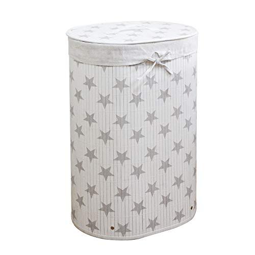 Wäschekorb Bambus Faltbar Wäschebox Wäschesammler herausnehmbar Wäschesack Oval 40x30x60CM