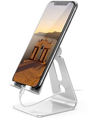 Eono by Amazon - Soporte Móvil Ajustable, Multiángulo Soporte Teléfono Mesa: Aluminio Phone Dock Base Universal para iPhone 12 11 XS MAX XR X 8, Galaxy S10 S9, Huawei, Otras Smartphones - Plata