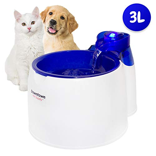 Cat/Pet Water Fountain - Low Noise with LED Light, 6 Month Replaceable Filter Included - 3 Liter Dog/Animal Water Fountain Dispenser - Extremely Easy to Use/Clean (Fountain)