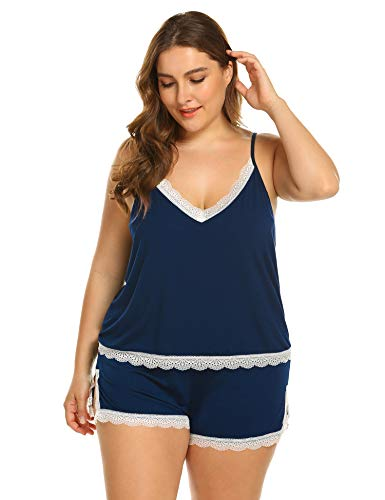 Meaneor_Fashion_Origin Damen Schlafanzüge große Größen Nachtwäsche kurz Sleepwear mit Spitze Tops und Shorts