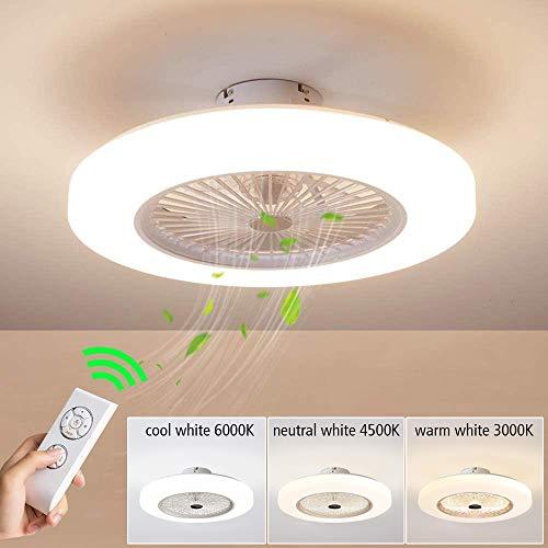 LED Modern Deckenventilator Licht, LED Dimmbar Fan Deckenleuchte moderne Deckenlampe, Deckenventilatoren mit beleuchtung und Fernbedienung, Metall, Innenbeleuchtung/Schlafzimmer/Küche/Wohnzimmerlampe