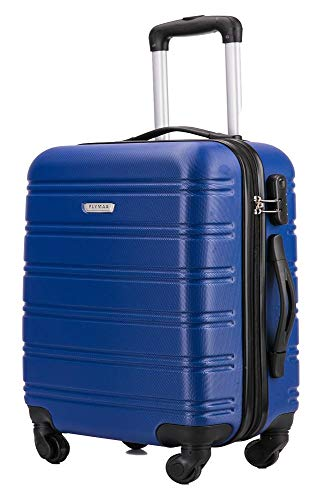 Flymax Cabin Luggage 4 Wheel Suitcase Lightweight Carry on 55x35x20 Approved for Flybe Ryanair Easyjet British Airways Navy