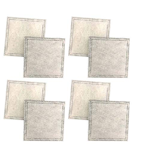 Think Crucial Replacement Charcoal Pre Foam Filters Compatible with Aqua Pet Fountains, Fits Models Aqua Cube, Aqua Falls & Pet Safe (8 Pack)