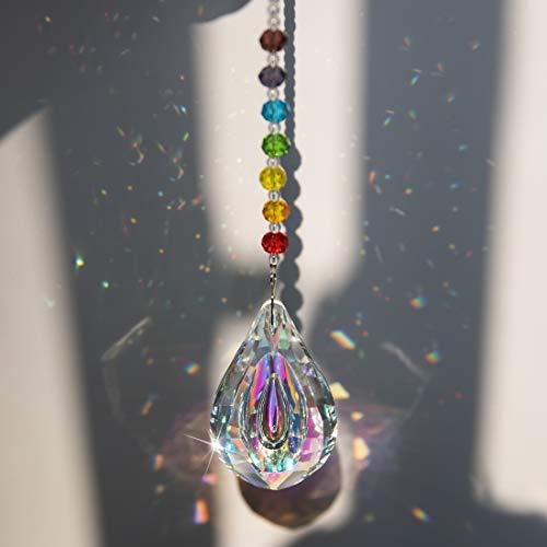H&D Kristall Regenbogen Sonnenfänger mit Chakra Perlen hängenden Glas Anhänger für Fenster 76mm (Regenbogen)