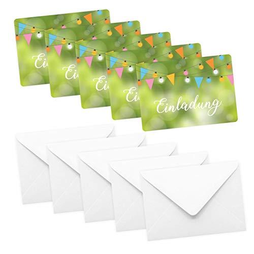 5 Einladungskarten Grillparty Gartenparty inkl. 5 Briefumschlägen - Poolparty Gartenparty Geburtstag Kindergeburtstag Grillparty Wimpelkette