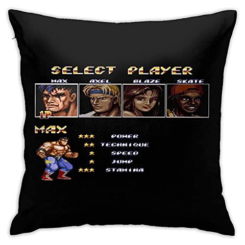 Sli8zhen Home & Games & Streets of Rage 2 Select Max Fundas de almohada, fundas de almohada para el suelo, fundas de cojín de sofá de 45,7 x 45,7 cm