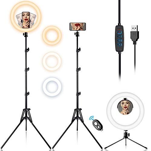 Ringlicht 12 Zoll / 30CM mit 3 Farbe & 10 Helligkeitsstufe, Ringleuchte mit Desktop Stativ/Verstellbarer Stativständer, Universeller Handyhalter, Makeup-Spiegel für Live Stream/TikTok/YouTube