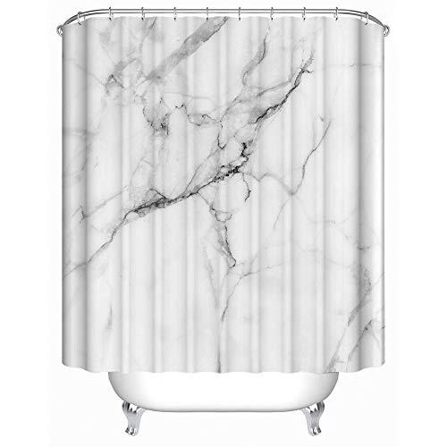 SMNHSRXH douchegordijn met marmerpatroon – decoratief douchegordijn van polyester wit en grijs anti-schimmel