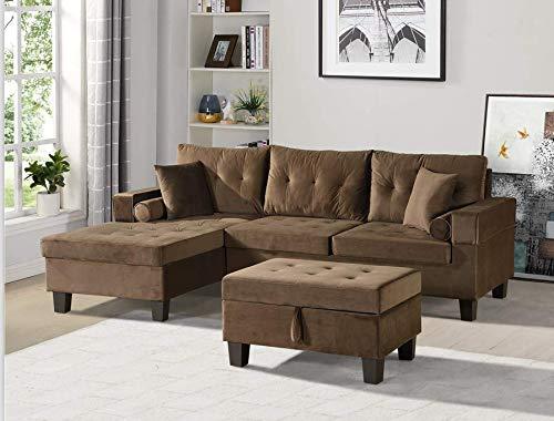 Home Deluxe - Sofagarnitur Rom Rechts - Farbe Braun - 242,6 cm x 154,3 cm x 90,8 cm - inkl. Hocker | Sofagarnitur, Sofa, Couch, Wohnlandschaft