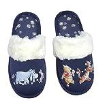 Winnie The Pooh Blue Slippers Ladies Disney (M, medium)