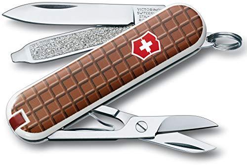 Victorinox Classic Sd Petit Couteau de Poche Suisse, Léger, Multitool, 7 Fonctions, Ciseaux, Lime à Ongles, Chocolat