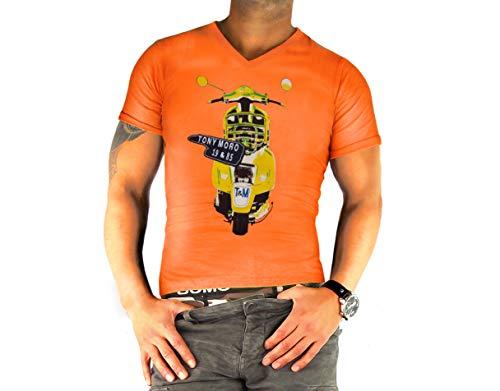 Heren T-shirts met korte mouwen Uni met motief 100% katoen nauwsluitende V-hals