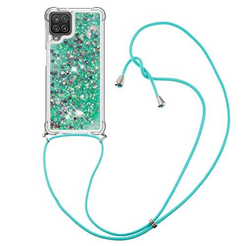 MRSTER Funda para Samsung Galaxy A12 con correa para Samsung Galaxy A12, diseño de arena movediza, color verde