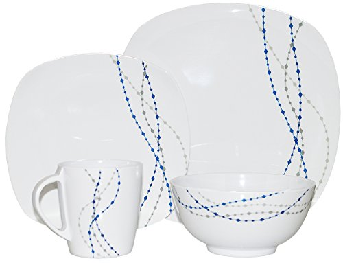 Hekers Line Weiß/Blau Eckig 8 TLG für 2 Personen Melamingeschirr Tafelgeschirr Geschirr-Set Camping Outdoor Garten Campinggeschirr Tafelservice Picknick