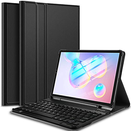 IVSO Funda con Teclado Español Ñ para Samsung Galaxy Tab S6 SM-T860/T865 10.5 2019, Slim Stand Funda con Removible Wireless Teclado con Ñ, Negro