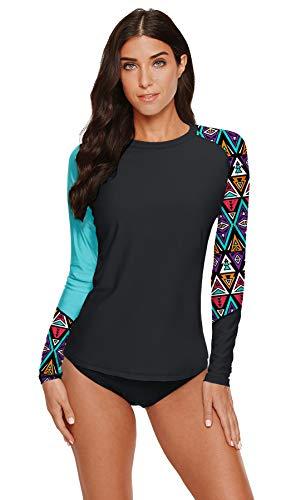 BesserBay Damen UV Tshirt Rash Guard Schwimmshirt UV Shirt Tankini Raglan Ärmel Lycra Shirt UV-Schutz 50+ Aqua