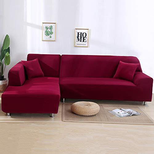 Copridivano con Penisola Elasticizzato Chaise Longue Copridivano Angolare Antimacchia Sofa Cover componibile in Poliestere a Forma di L 2PCS, Federe Protettive per Divano(Vino rosso,2 Posti+2 Posti)