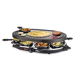 Princess 162700 Oval Grill Party – Raclette y parrilla, con parte diseñada especialmente para creps, 8 personas