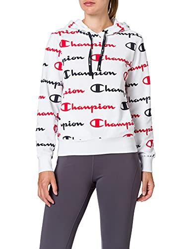 Champion Seasonal AC Logo Allover Hooded Sweatshirt Sudadera con Capucha, White Wl002, XS para Mujer