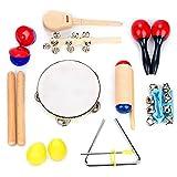 Tomotato 10 Uds Suministros de Música Educativos para Niños Pequeños Instrumentos de Percusión Portátiles Orff Conjunto de Instrumentos para Niños Regalo Ligero para Niños